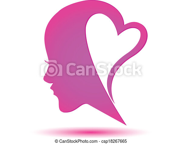 Line Drawing Face Woman : Woman face and heart logo thinking in love clip art