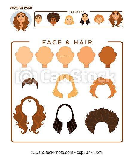 Woman face constructor with hair and face samples isolated cartoon ...