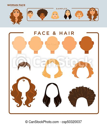 Woman face constructor with samples of heads and hairstyles. Woman ...