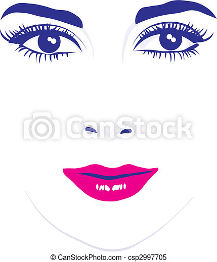 Woman face eyes vector illustration - csp2997705