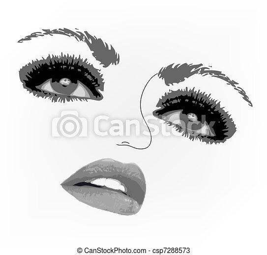 Woman face eyes. Vector illustration - csp7288573