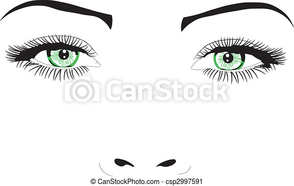 Woman face eyes vector illustration - csp2997591