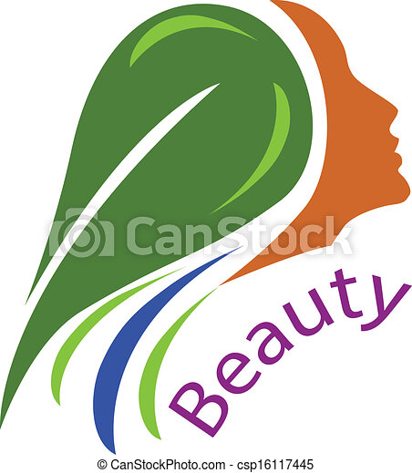 Woman face-healthy hair logo vector - csp16117445