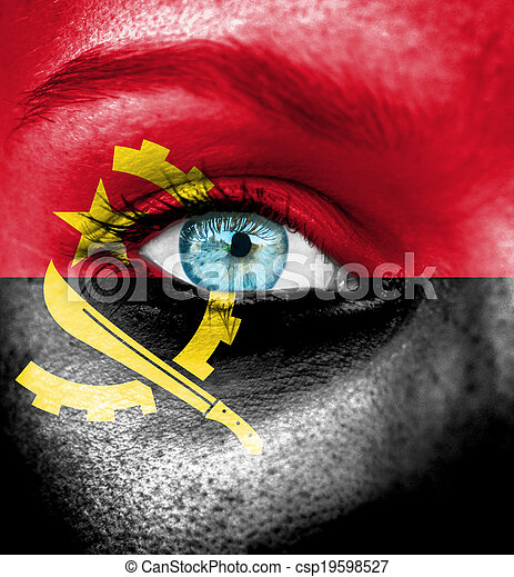 Woman face painted with flag of Angola - csp19598527
