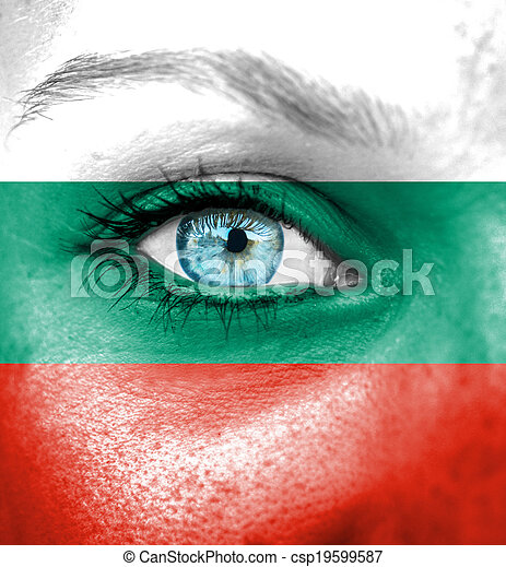Woman face painted with flag of Bulgaria - csp19599587