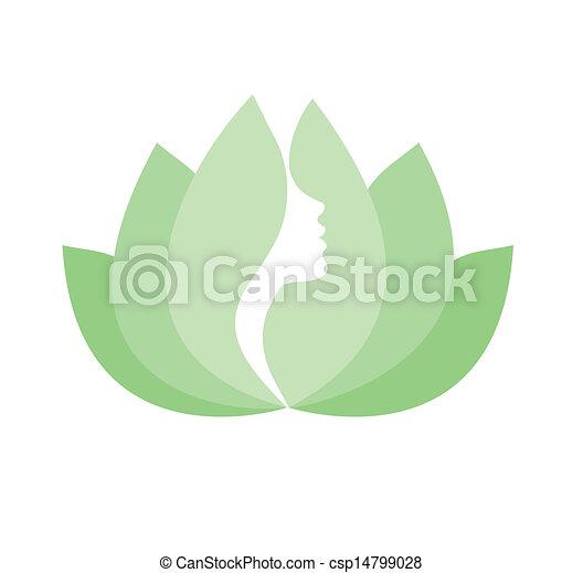 Woman face profile in lotus flower - csp14799028