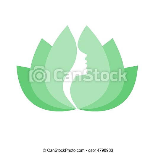 Woman face profile in lotus flower - csp14798983