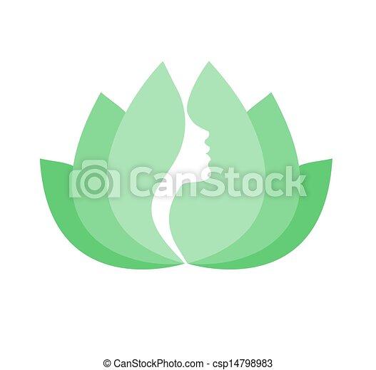 Woman face profile in lotus flower - csp14798983