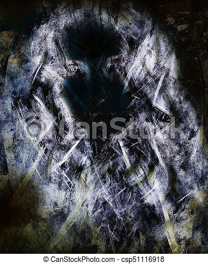 Woman Face Silhouette And Abstract Color Background Fractal Effect