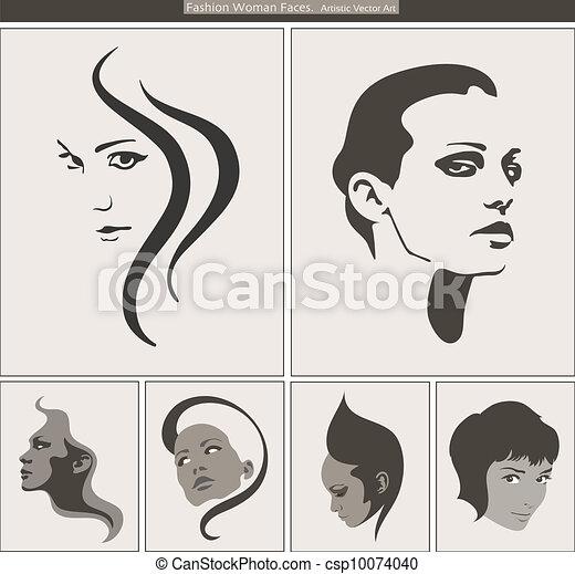 Woman Face Silhouette Portrait. Vector Beauty Profiles  - csp10074040