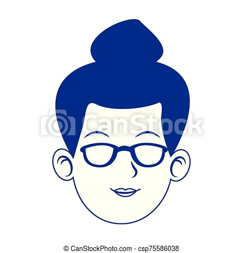 woman face with glasses icon, blue design - csp75586038