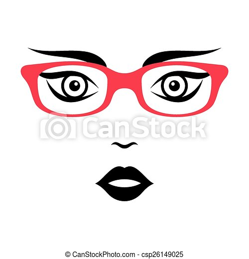 Woman face with glasses - csp26149025