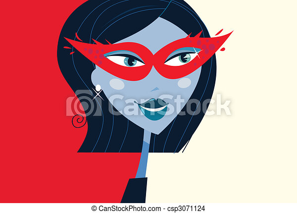 Woman face with masquerade party mask - csp3071124