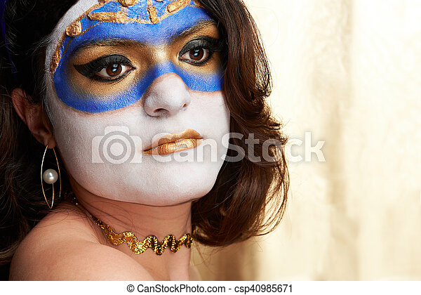 woman face with painted mask - csp40985671