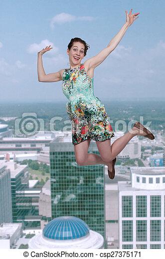 Woman Falling Through the Sky - csp27375171