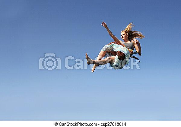 Woman Falling Through the Sky - csp27618014