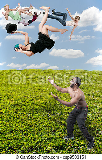 Woman Falling Through the Sky - csp9503151