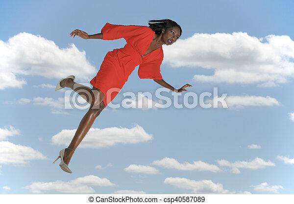 Woman Falling Through the Sky - csp40587089