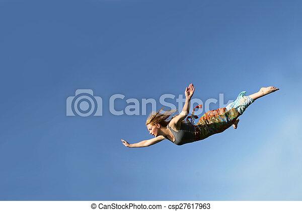 Woman Falling Through the Sky - csp27617963