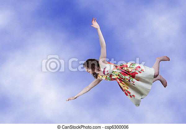 Woman Falling Through the Sky - csp6300006