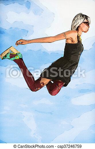 Woman Falling Through the Sky - csp37246759