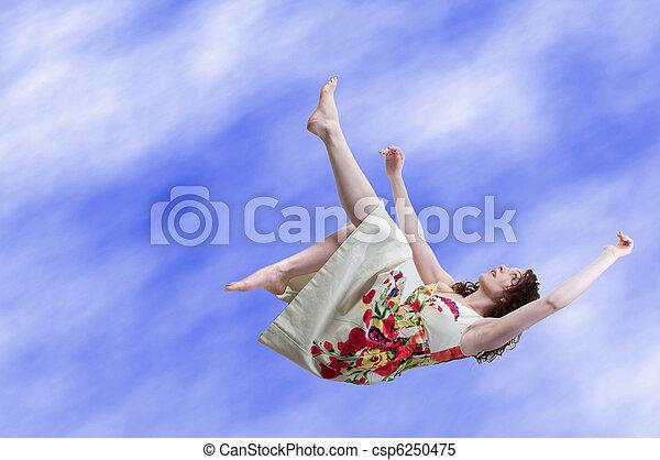 Woman Falling Through the Sky - csp6250475