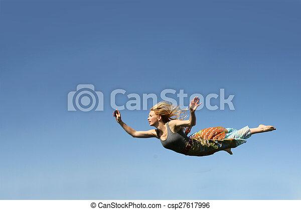 Woman Falling Through the Sky - csp27617996