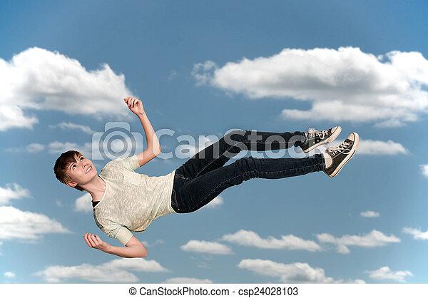 Woman Falling Through the Sky - csp24028103