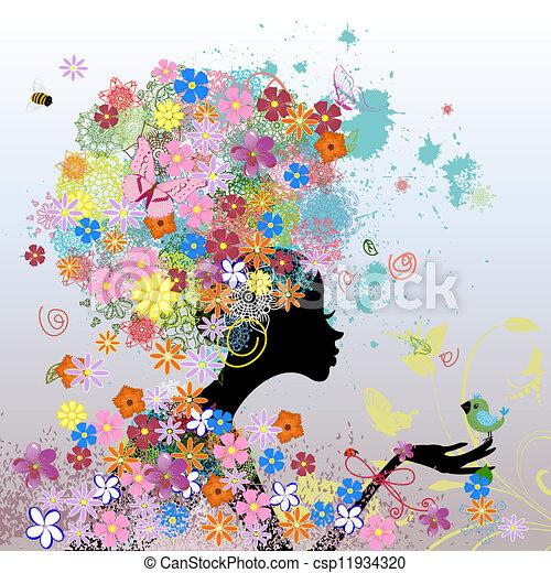 woman fashion flowers - csp11934320