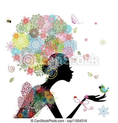 woman fashion flowers - csp11934316