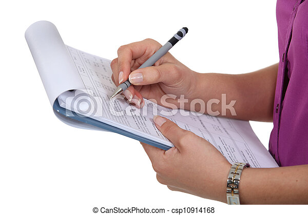 Woman filling in a form - csp10914168