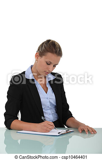 Woman filling in a form - csp10464401