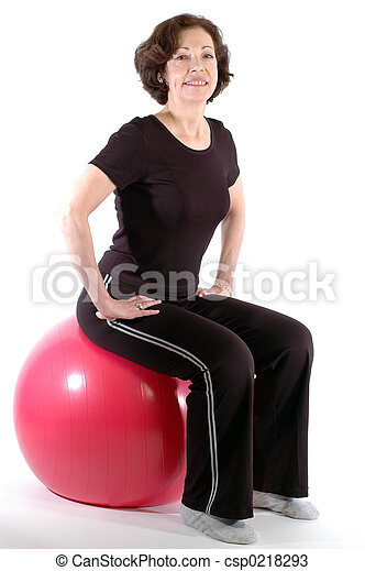 woman fitness ball - csp0218293