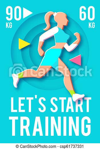 woman fitness poster template sport motivation paper 3d
