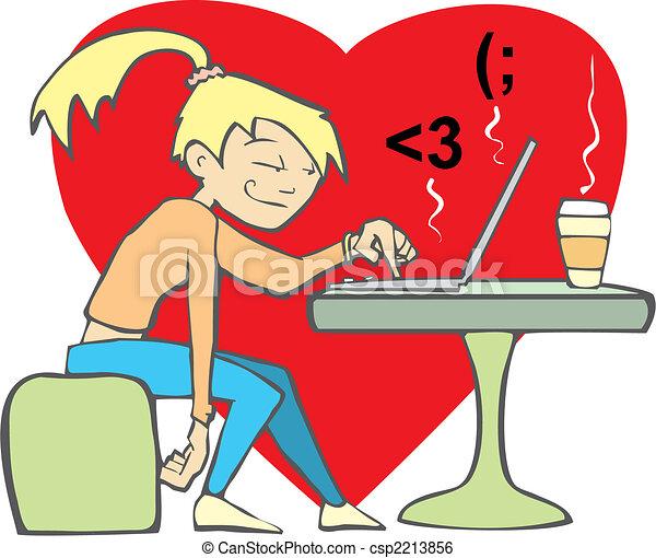 Woman flirting at computer. - csp2213856
