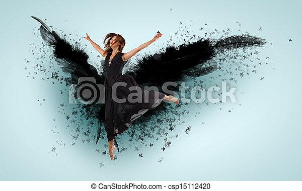 Woman floating   on dark wings - csp15112420