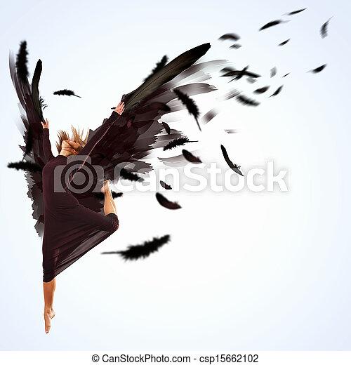 Woman floating   on dark wings - csp15662102