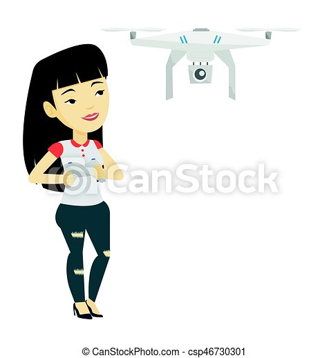 Woman Flying Drone Vector Illustration