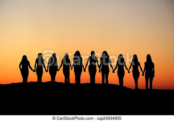Woman friendship silhouette. - csp24934955
