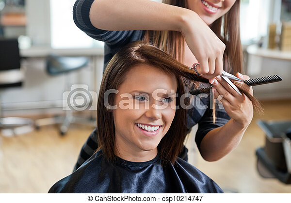 Woman Getting a Haircut - csp10214747