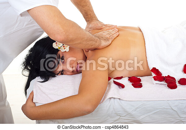 Woman getting back massage at spa - csp4864843