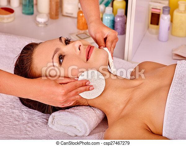 Woman getting  facial massage . - csp27467279