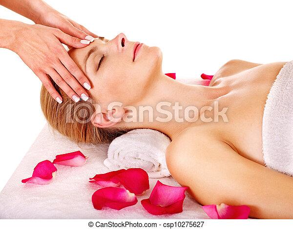 Woman getting  facial massage . - csp10275627