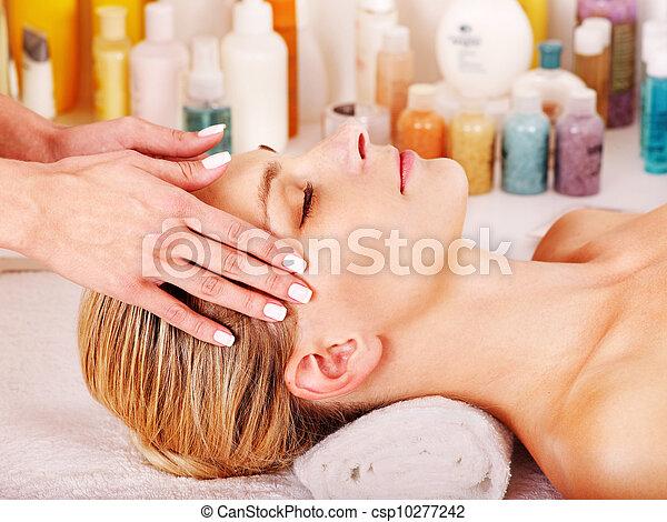 Woman getting  facial massage . - csp10277242