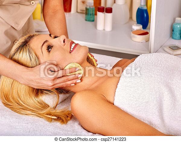 Woman getting  facial massage . - csp27141223