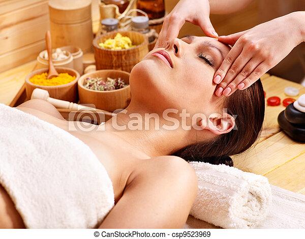 Woman getting  facial massage . - csp9523969