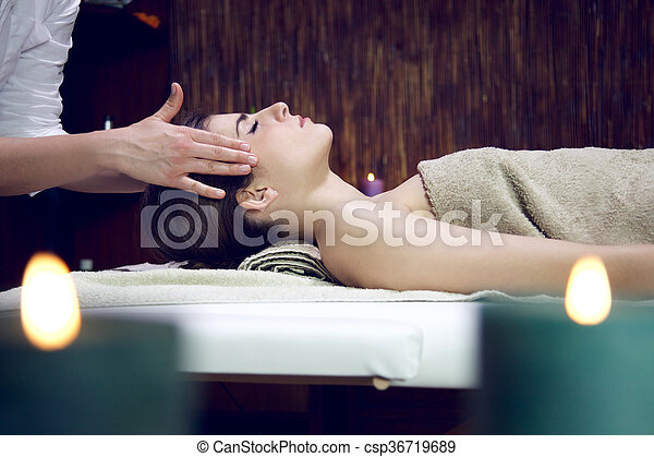 Happy sleeping relaxing woman in spa