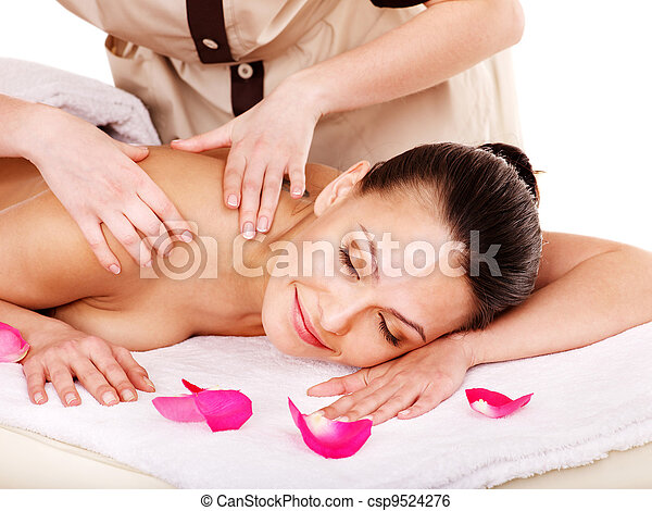 Woman getting massage in spa. - csp9524276