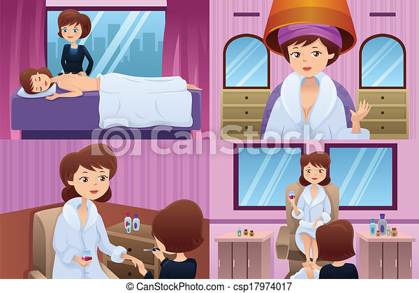 Woman getting pampered in a beauty salon - csp17974017