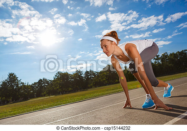 Woman getting ready to start on Stadium. - csp15144232